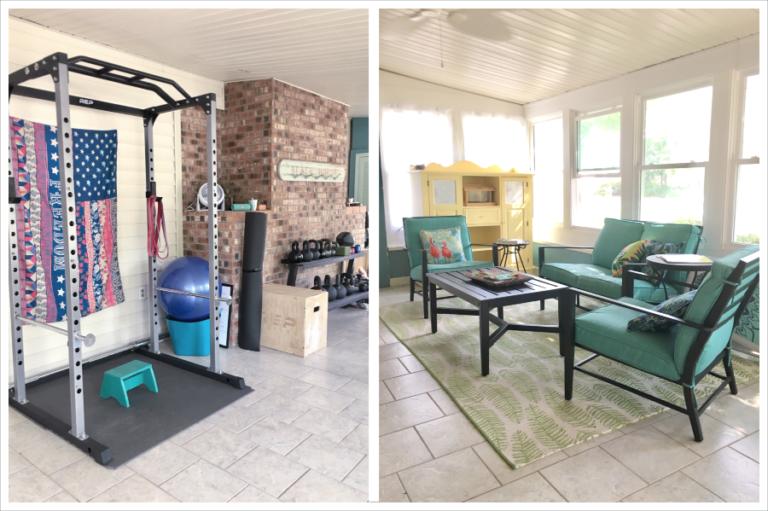 porch home gym set up