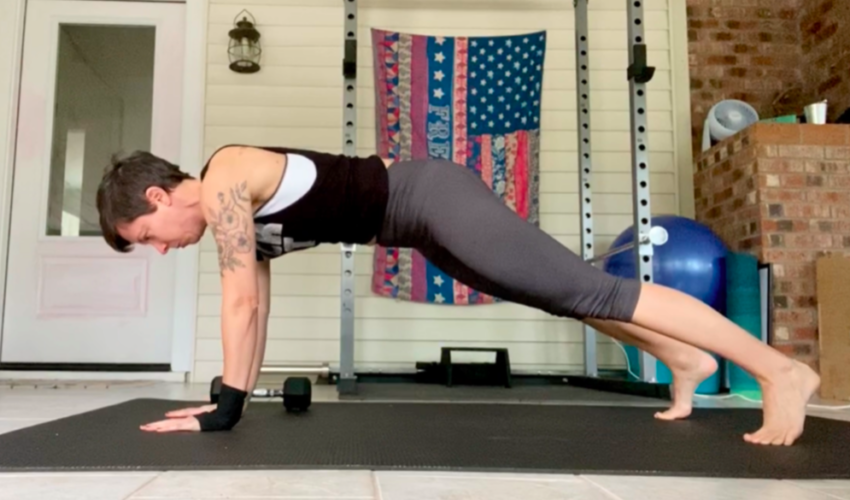 tall extended arm plank